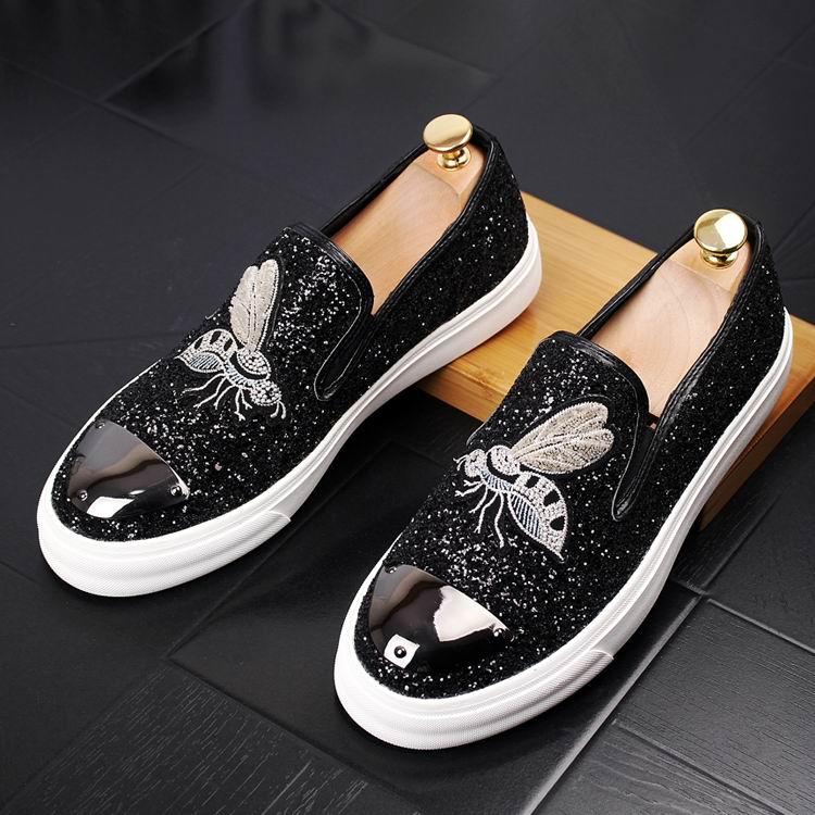 Homens De Errfc Glitter Forma Preto Trending Novo Bordado Mais Casuais Tendência Toe Slip Sapatos On Rodada Abelha Baixos E55xCwrBWq