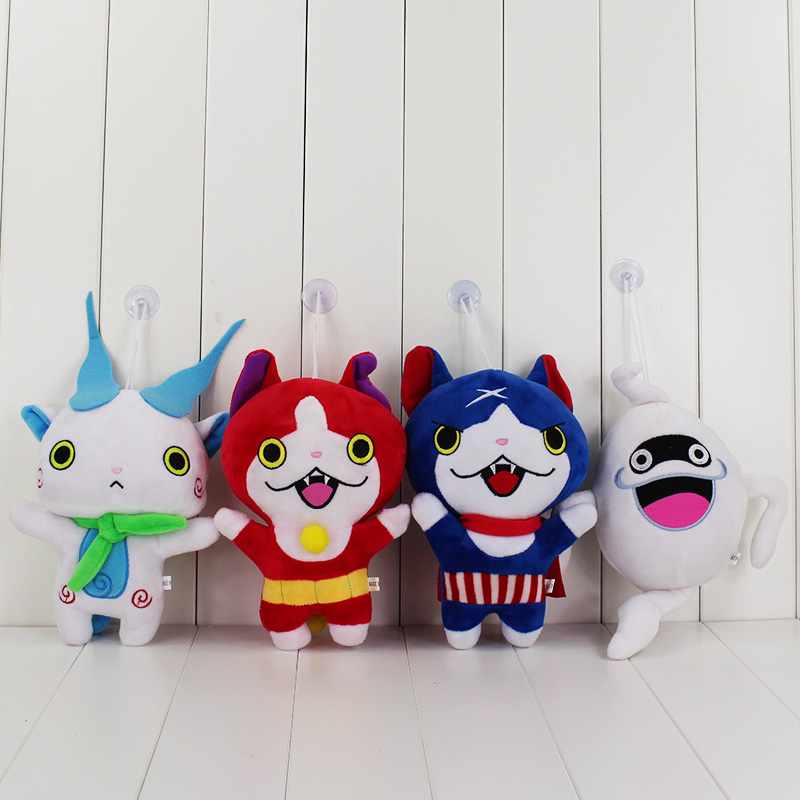 4Styles 20CM Yo-Kai Yokai Watch Plush Toy Jibanyan Komasan och Whisper Youkai Plush Doll Stuffed Soft Dolls With Sucker Hängsmycke