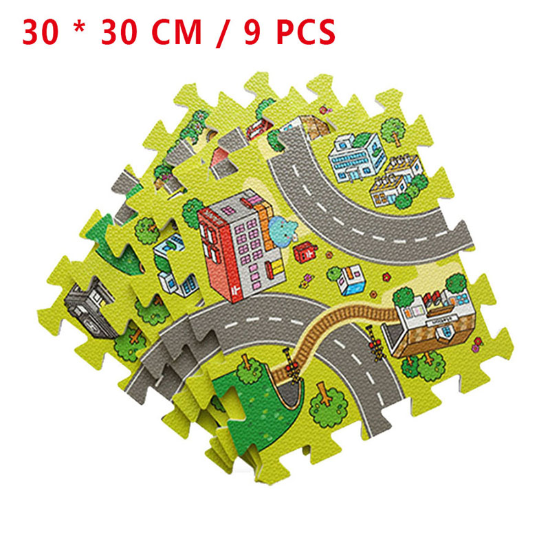 9pcs Split Joint Baby Play Mat EVA Soft Foam Playmat Road Puzzle Mat Carpets For Children Play Education Mat Indoor Kids Gift