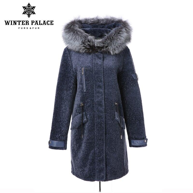 2017 Street fashion manteau en laine mérinos mouton fourrure manteau de laine femmes grand rapport qualité-prix hiver manteau de fourrure de renard chapeau de fourrure bleu manteau