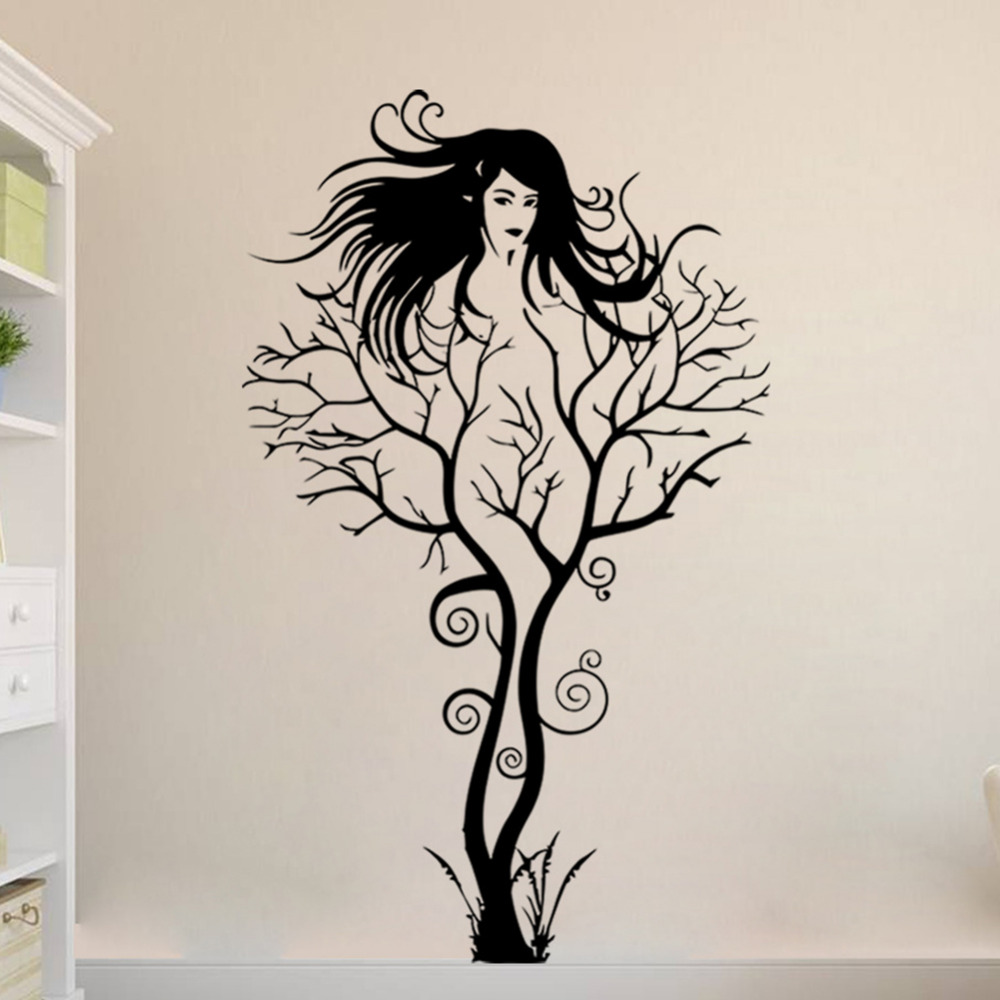 Sexy Girl Tree Wall Sticker DIY Hot Woman Home Decorations Wall Art Decals  Vinyl PVC Wall Paper Stickers Removable 3D Wall Decor In Wall Stickers From  Home ... Part 50