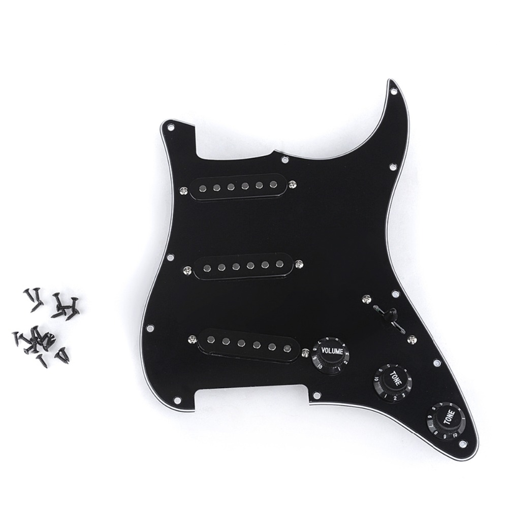 Musiclily Pro Pickup Loaded Prewired Assemblies SSS Pickguard Set for Fender Stratocaster Strat ST Electric Guitar, 3Ply Black musiclily 3ply pvc outline pickguard for fenderstrat st guitar custom