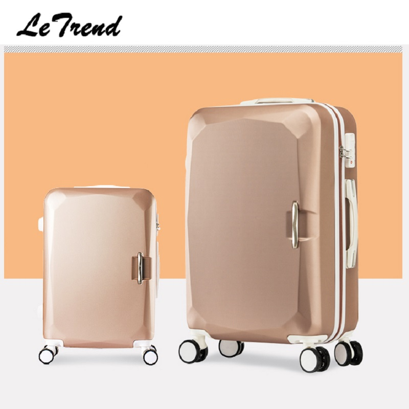 Letrend Fashion Women Suitcases Wheel Trolley Rolling Luggage Spinner Korean password Travel Bag Carry on Luggage Hardside Trunk oxford spinner rolling luggage set 20 inch travel bag carry on luggage women password trunk men suitcases wheel trolley
