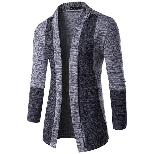 Nuevos Hombres de la Llegada Patchwork Suéter Patrón de Diseño de Moda Traje Chaqueta de punto de Manga Larga Suéter Delgado Suéter Ocasional