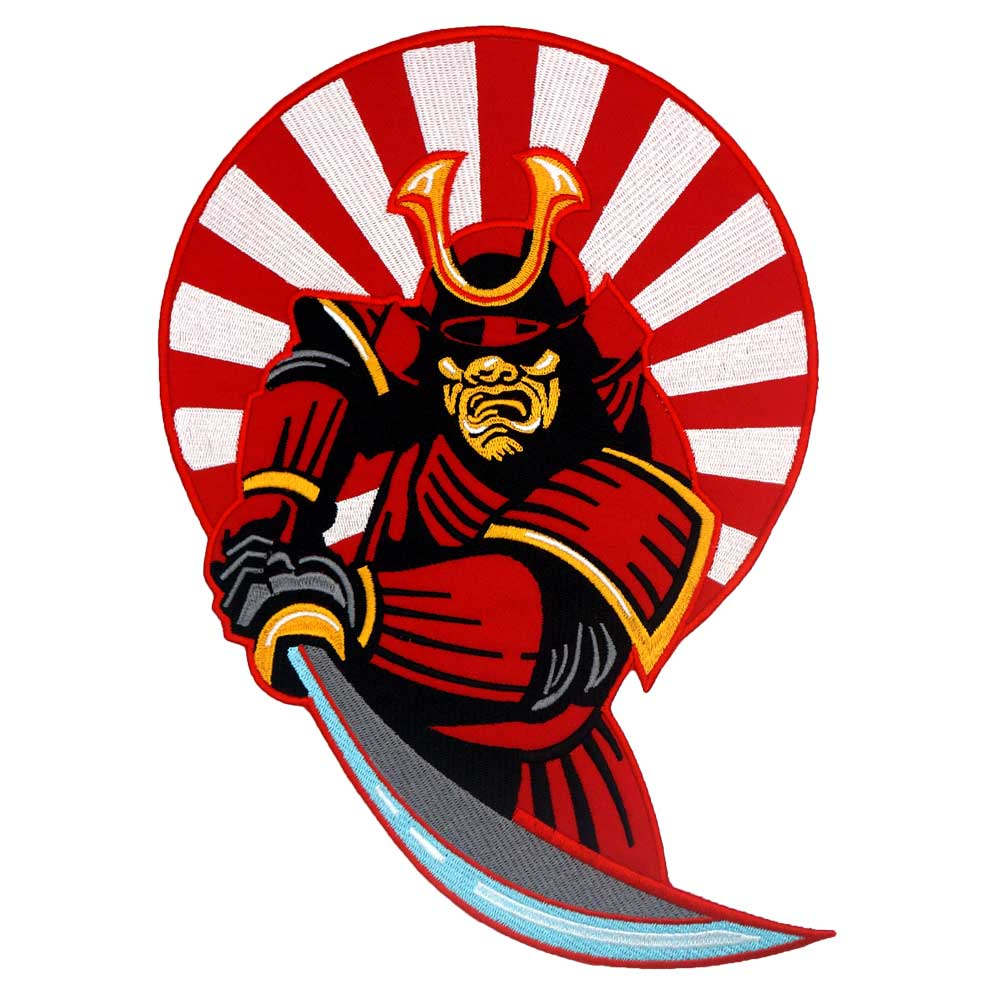 Japanese warrior backing Patch Embroidered Applique Sewing Label punk biker Patches Clothes Stickers Apparel Accessories Badge