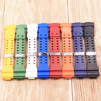 The latest rubber 16MM strap strap Apply to for Casio GA-100 GA-100 GA-120 GA-120 GD-100 GD-120 GA-100C watch accessories фото
