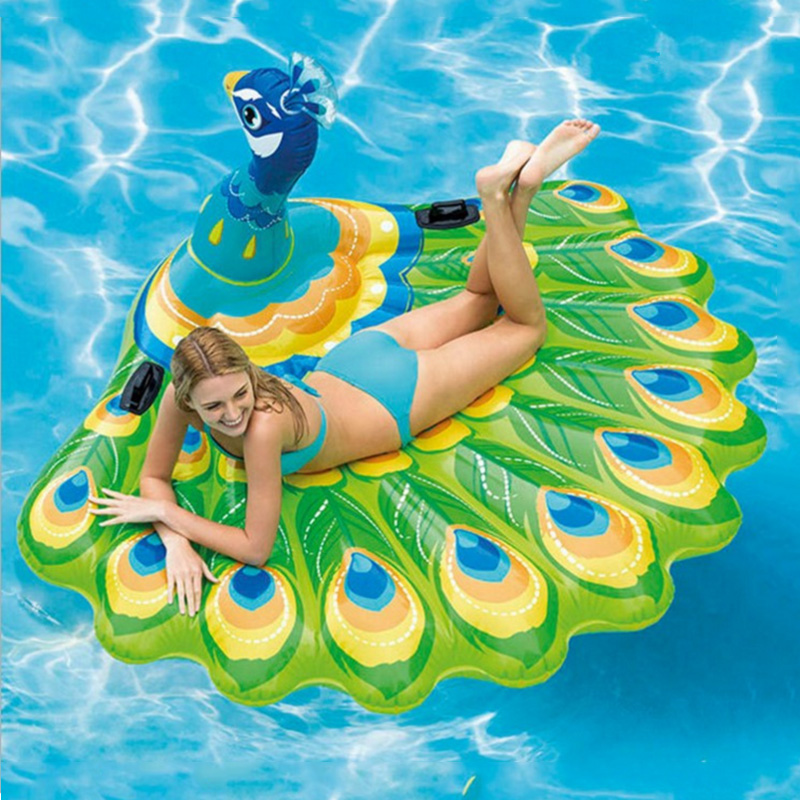 193CM Giant Inflatable Green Peacock Pool Float Adults Ride On Swimming Mattress Boia Piscina Beach Chair Summer Water Toys Buoy 200cm giant champagne bottle inflatable pool float ride on swimming ring for adult water party toys air mattress boia ha014