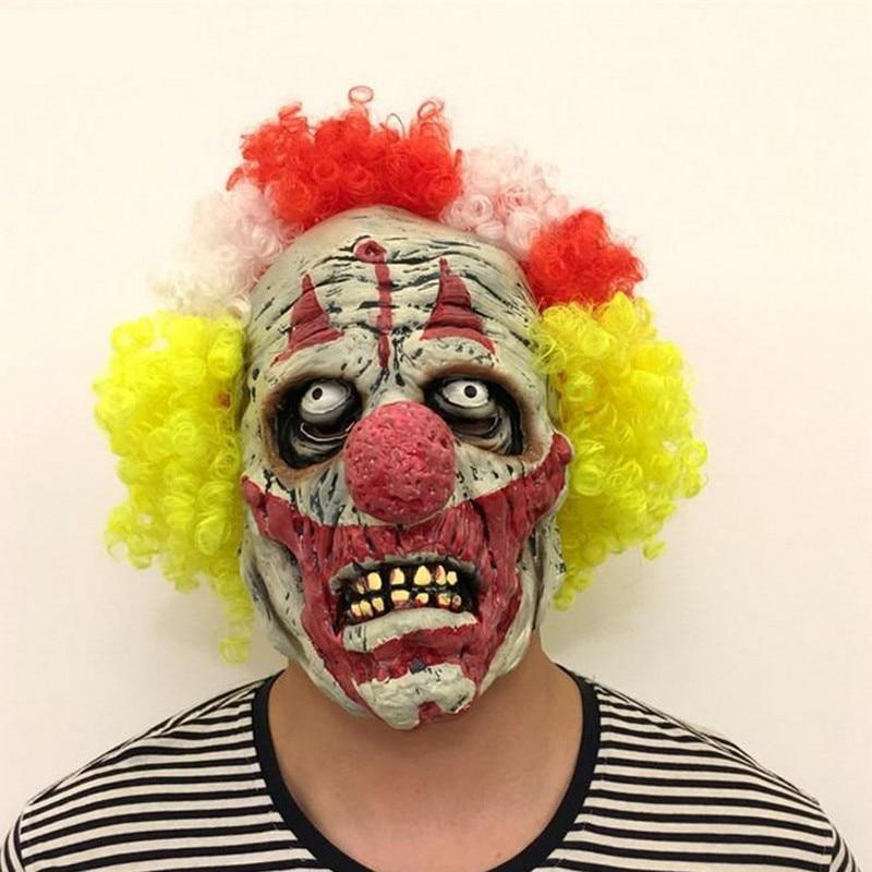 Laborioso Top Orribile Maschera Da Clown Per Adulti Uomini Lattice Variopinto Dei Capelli Di Halloween Evil Clown Assassino Demone Maschera Da Clown Del Partito Di Cosplay Puntelli