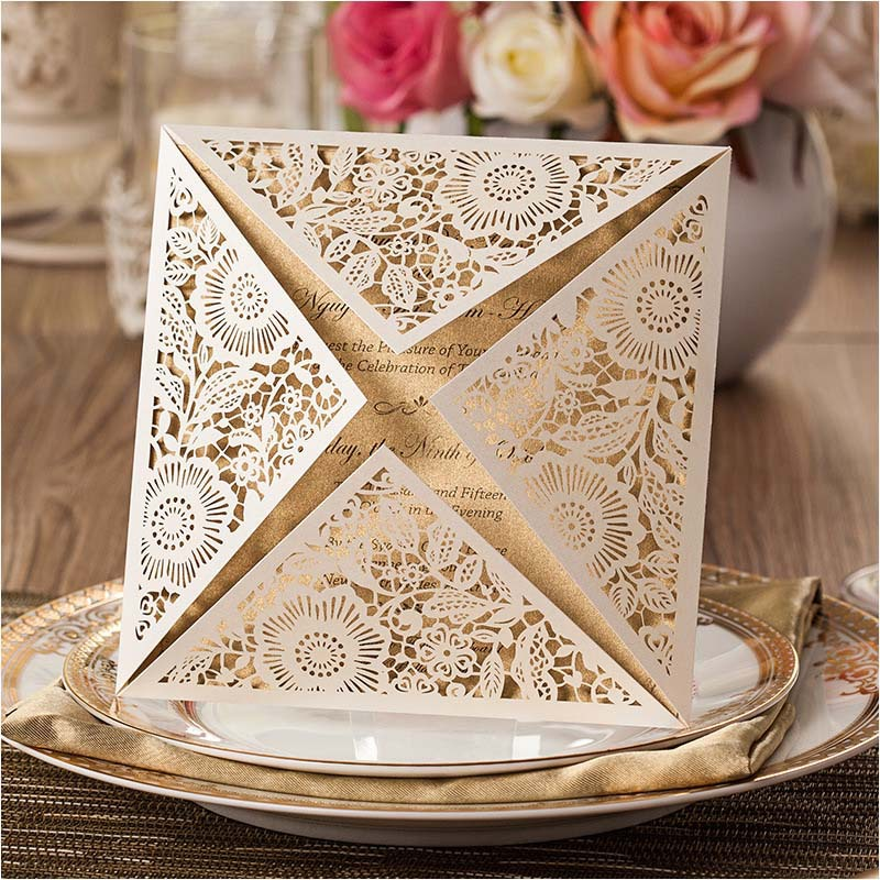 Hot Sales Wedding Invitations Laser Cut Flower Personalized Printing ...