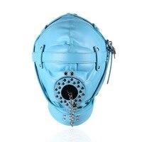 hot sale blue BDSM fetish mask adult sex toys for couples leather mask slave open mouth gag games bondage mask sex products