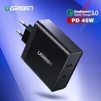 Ugreen USB зарядное устройство PD 45 Вт быстрое зарядное устройство для iPhone X 8 Quick Charge 3,0 Для Xiaomi Phone charger для MacBook Pro nintendo Switch