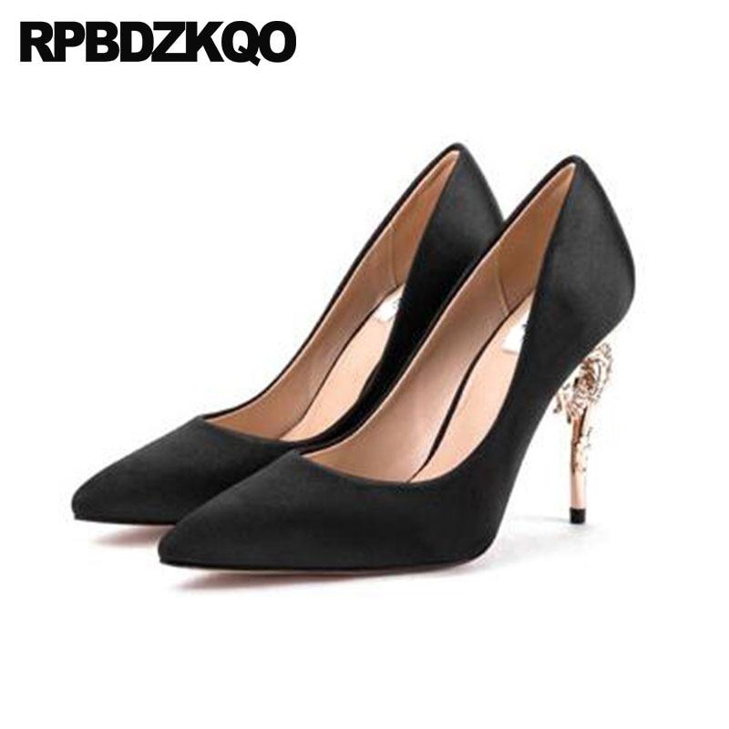6a80ca185f64 Metal Royal Blue Black Bridal Women 4 Inch Heels Wedding Shoes Scarpin  Diamond Rose Gold Crystal Pumps Pointed Toe High Satin