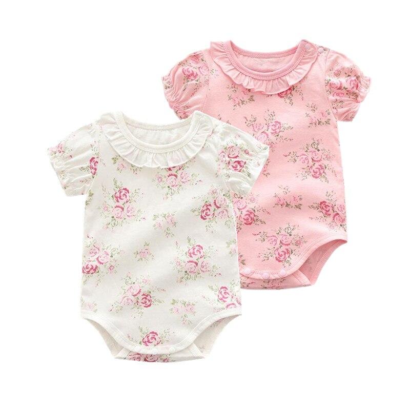 Summer 2019 Newborn Baby Girl Bodysuit Infant Girl Clothing , Print Flower New Style Children Pink Bodysuit Baby Girl Clothes