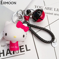 2016 Free Shipping cute fruit color bell Hello Kitty KeyChain cartoon animal bell keyring for bag car key holder girls chaveiro