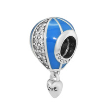 CKK 100% Genuine 925 Sterling Silver Love Hot Air Balloon Beads With Transparent CZ Fit Original Pandora Charm Bracelet