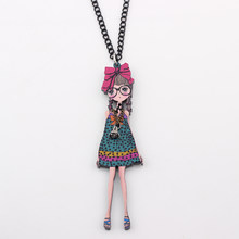 Bonsny & pendant necklace thin girl collar colorful for girls lovely wholesale cute figure acrylic woman jewelry fairy wings(China)