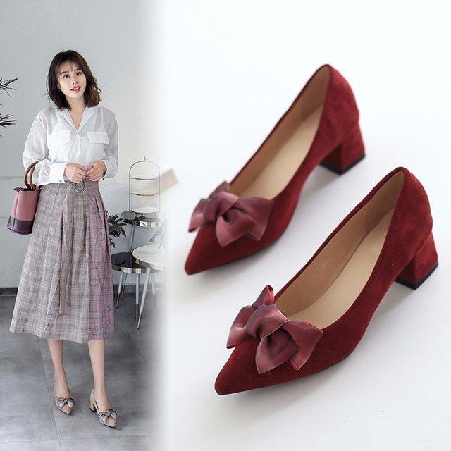 2018 nuovo modo Coreano selvaggio superficiale bocca arco con i tacchi alti di tendenza camoscio scarpe comode di alta-scarpe col tacco alto