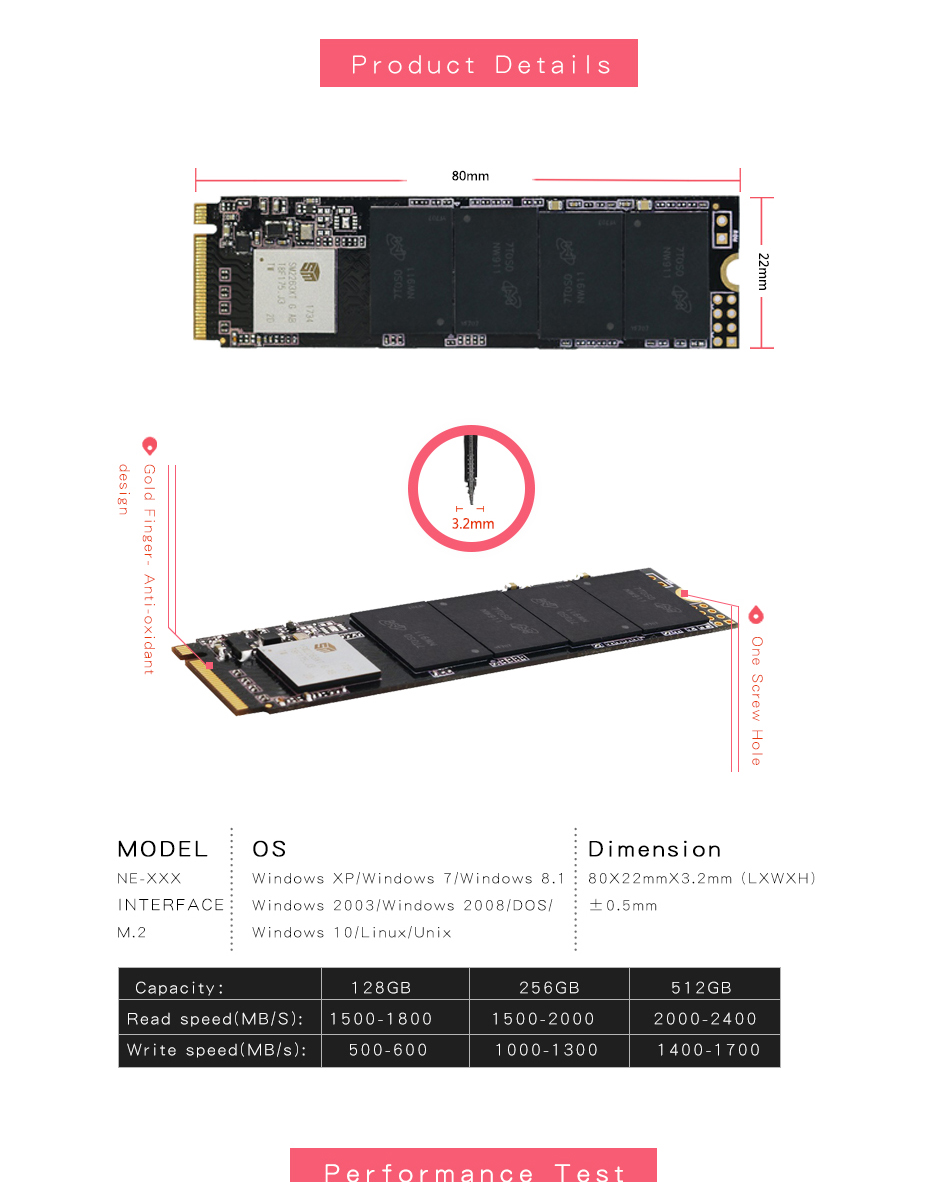 KingSpec M.2 PCIe SSD 120gb 128GB 256GB 512GB NVMe Internal hard drive
