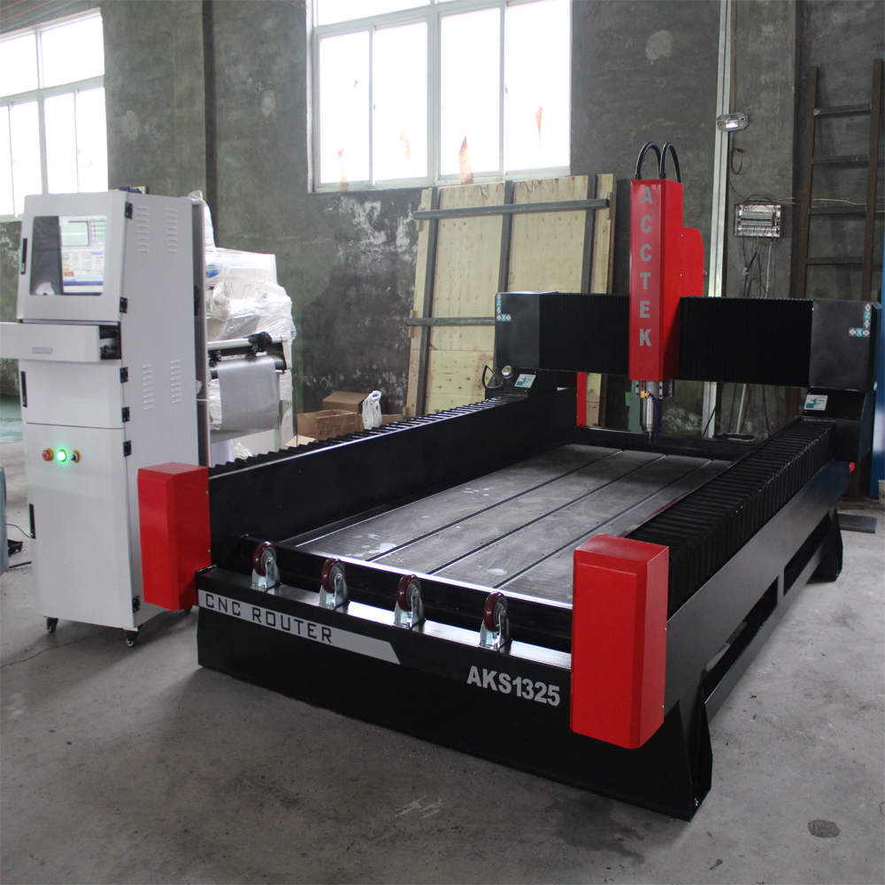 AKS1325 5.5kw Great Power 3d Cnc Stone Sculpture Machine/4 Axis Stone Cnc Router