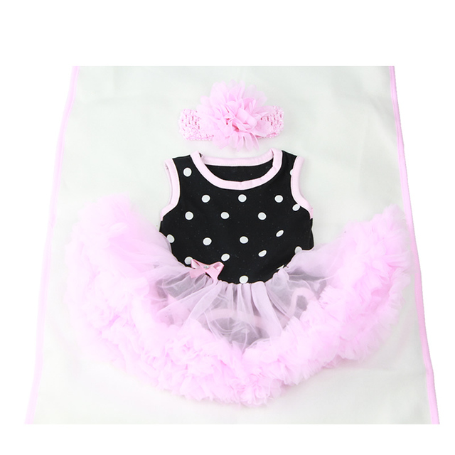 96a6481ba Fit For 22 23 Inch Reborn Baby Clothes Black and Pink Sleeveless ...