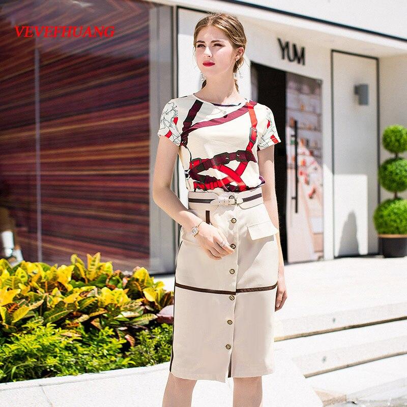 VEVEFHUANG Designer Two Piece Set Women's Short Sleeve Geometric Printed Tees + Slim Skirts Summer Female Summer Skirt Suit
