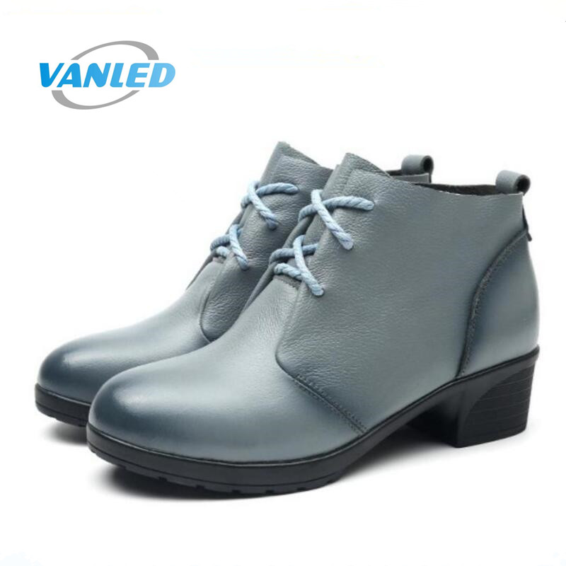 VANLED brand boots women shoes winter ankle boots 2018 Warm comfortable  wedges mom snow boots cow leather shoes woman boots ab086ba4416b