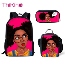 Thikin Children 3D African Black Girls American School Bag Set for Boys Teenagers Primary Travel Backpack Kids Book Bags