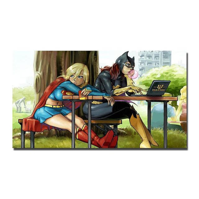 batgirl and supergirl wall sticker home decoration silk art poster