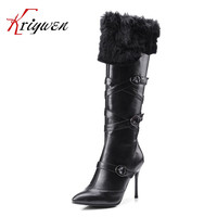 Winter Artificial Leather Knee High Boots For Women Shoes Fashion Thin High Heels Ladies Dress Western