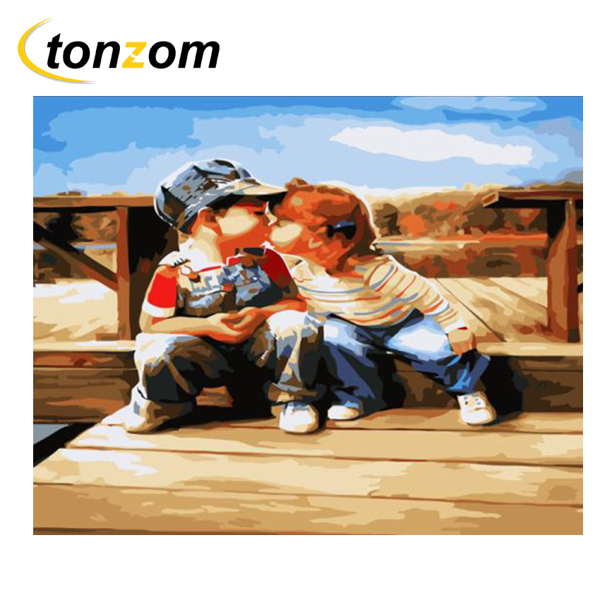 RIHE Lively Children Diy Painting By Numbers Cute Active Boy Girl Oil Painting On Canvas Cuadros Decoracion Acrylic Wall 2018 in Painting Calligraphy from Home Garden