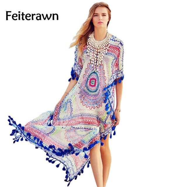 3cbf4d9f9fb 2018 Women Fashion Beach Long Blue Tassel Trim Chiffon Print Maxi Dress  Caftan Beachwear Robe De Plage MX281