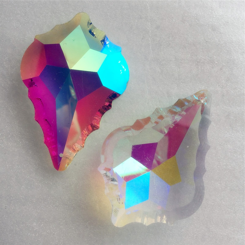 10pcs/LOT 76mm AB color crystal maple leaf shape glass drop prism French style crystal chandelier hanging pendant
