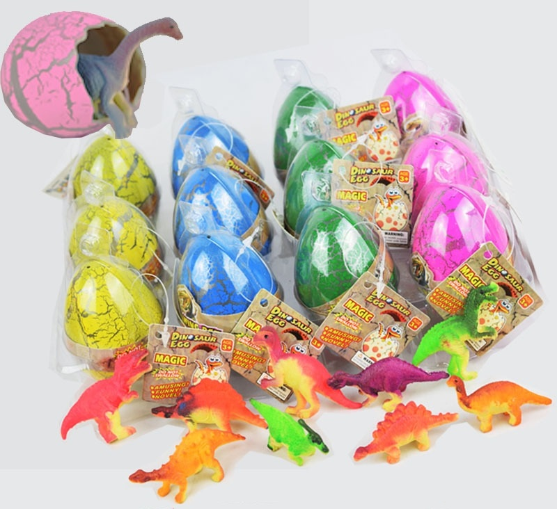 Large Size 5*7cm dinosaurs figure toys Water Hatching Inflation Dinosaur Egg Cracks Grow Egg Toys creative dinosaur egg interactive cute fantastic hatching egg with plush animal novelty gag toys growing dinosaur eggs