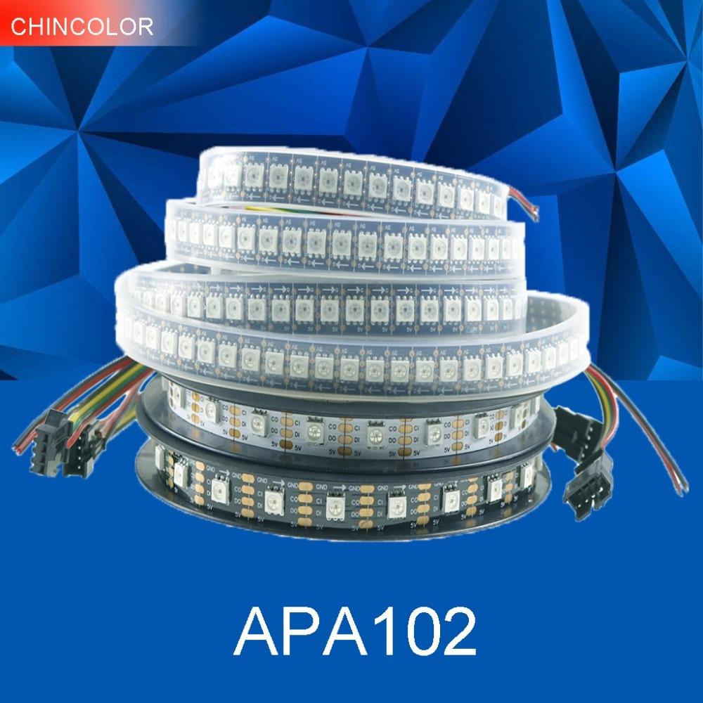 APA102 tira DC5V direccionable 30led 60led 144led por metro inteligente led pixel luz IP30 IP65 IP67 datos y reloj por separado JQ
