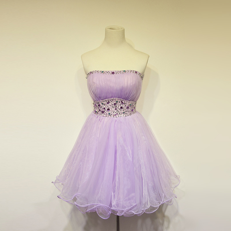 Crystal Sequined Belt Light Purple Bridesmaid Dresses Plus