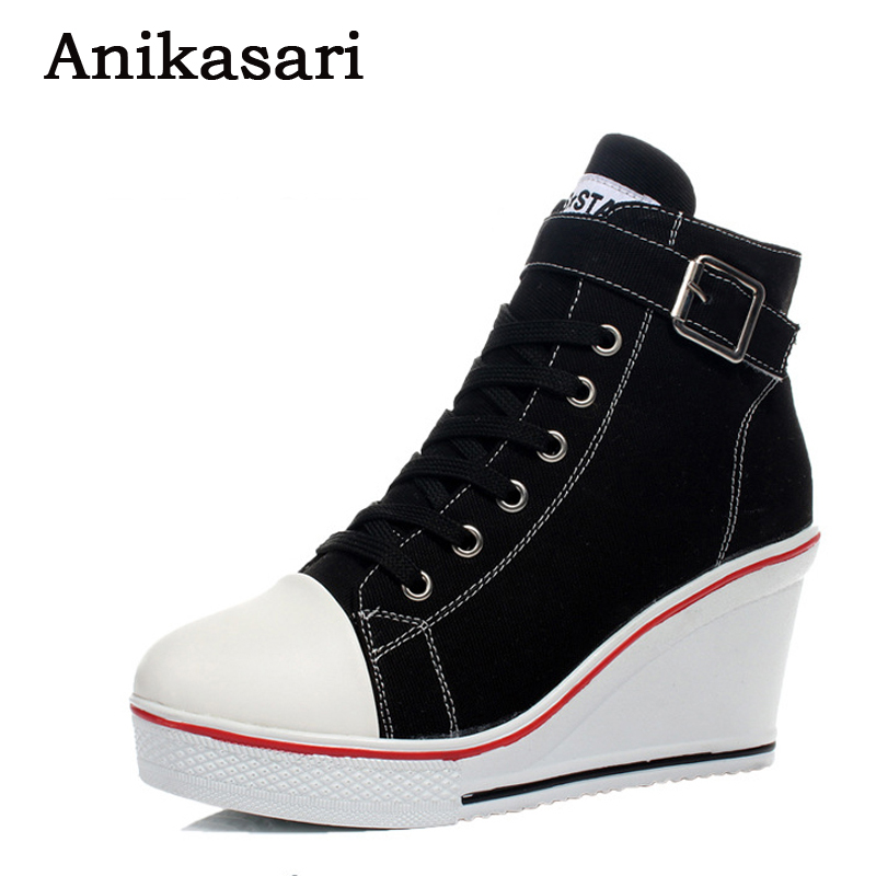 Canvas Shoes Women Wedges Badge High Top Platform Shoes Woman White Black Casual Trainers Elevator Shoe High Heels Zapatos Mujer large size 8cm high 2016 women casual canvas shoes woman platform wedges high top with zippers ladies zapatos mujer espadrilles