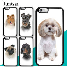 Lhasa Apso Juntsai Rough Collie Cão Pug TPU Caso de Telefone Para O iPhone Da Apple X XR XS MAX 6 s 6 7 8 além de Coque 5S SE Capa de Borracha Shell(China)
