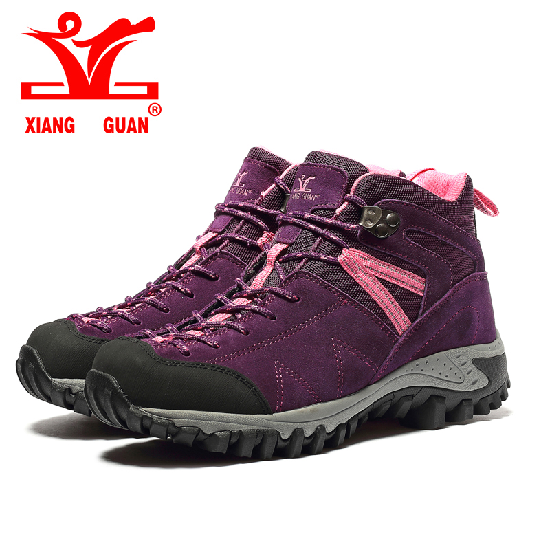 ФОТО New 2017 XIANGGUAN Trekking Boots Shoes Outdoor Hiking Shoes For Women Camping Sports lady Breathable Winter Sneakers Boots