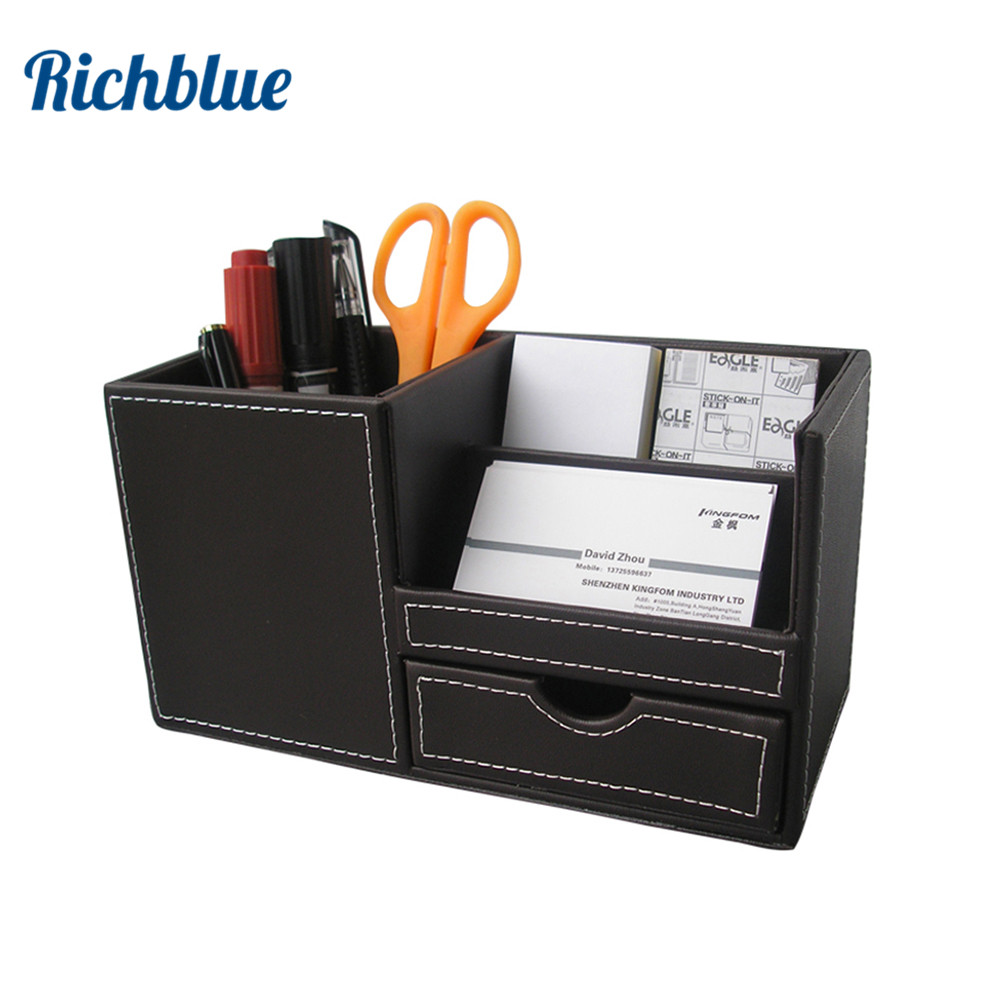 PU Leather Surface Desk Multi function Stationery Organizer Pen Pencil Container Holder Box Storage Case