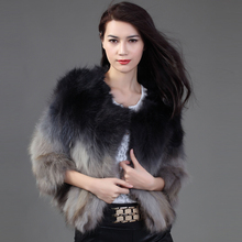 genuine real natural fox raccoon fur coat short design female fashion gradient color slim three quarter sleeve o-neck