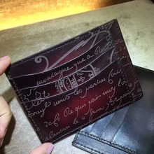 TERSE_Top Italian genuine leather mans card holder patina handmade id card wallet vintage 4 colors luxury style custom service