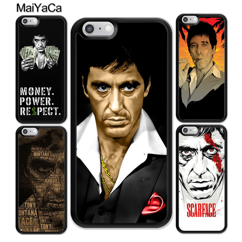 MaiYaCa Scarface Tony Montanna Poster Soft Rubber Mobile Phone Case For iPhone 6 6S 7 Plus 8 X XR XS MAX 5S SE Back Cover Shell