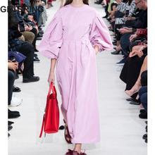 GETSRING женское платье с круглым вырезом и пышными рукавами, розовое длинное платье с длинным рукавом, темпераментные Платья для вечеринок, свободные длинные летние платья