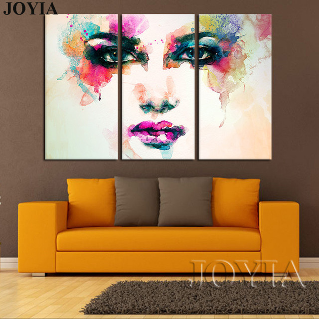 3 piece canvas picture watercolor paintings color woman - Picture wall ideas for living room ...