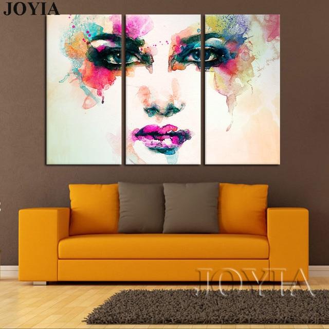 Cheap finest stuk canvas foto aquarel kleur vrouw gezicht for Schilderij woonkamer