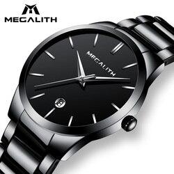 Мегалит Для мужчин часы Водонепроницаемый Дата Календарь аналоговый Наручные часы Для мужчин s Бизнес Повседневное кварцевые часы для чело...
