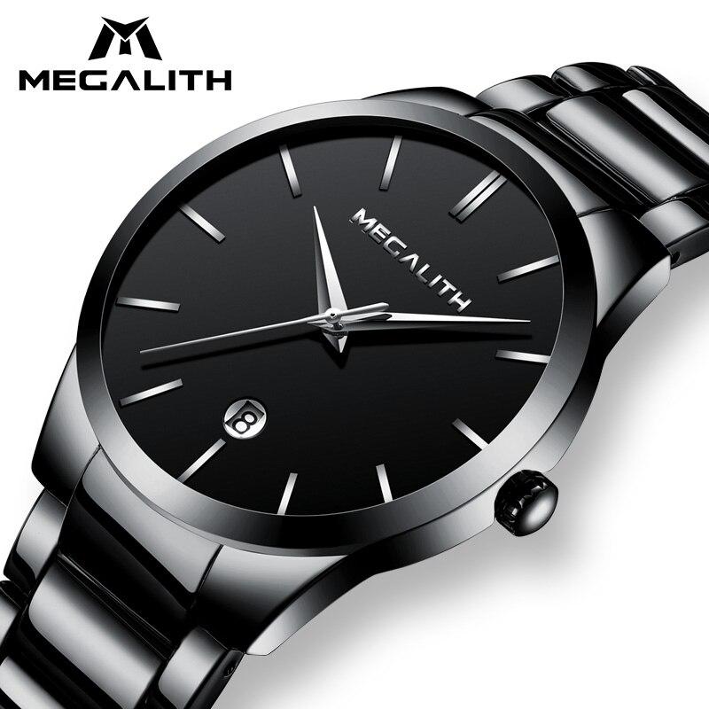 Megalito hombres Reloj impermeable fecha analógicas relojes para Hombre Casual de negocios de relojes de cuarzo para Hombre Reloj Hombre