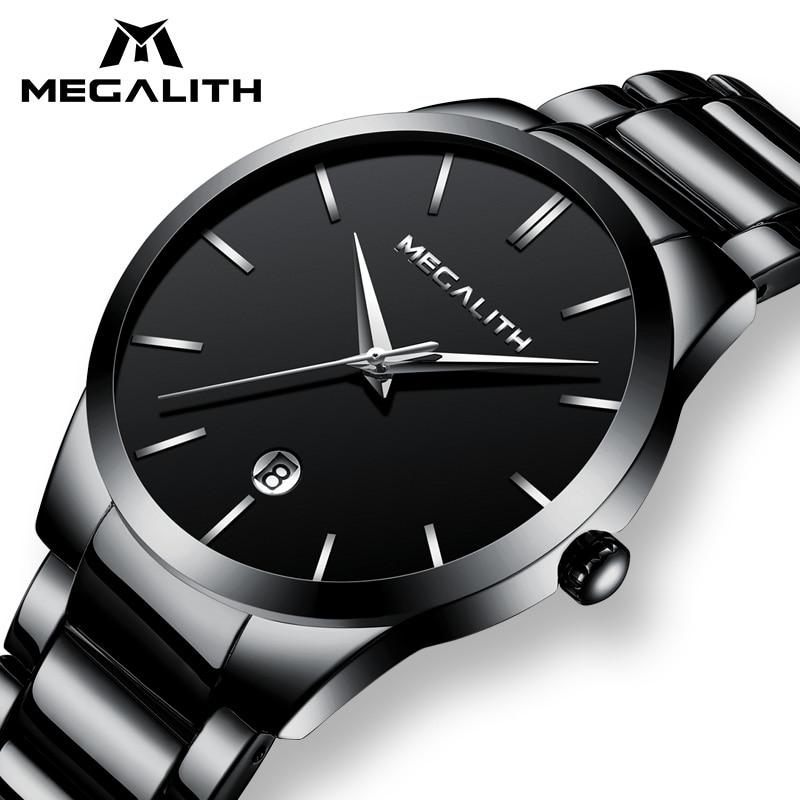 Megalito hombres Reloj impermeable fecha calendario analógico de pulsera para Hombre de negocios Casual relojes de cuarzo para Hombre Reloj Hombre