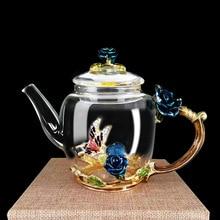 Высокое Качество Изысканный Роскошный эмалированный хрустальный стеклянный термостойкий чайник кухонные аксессуары свадебные подарки чайник с розовой водой