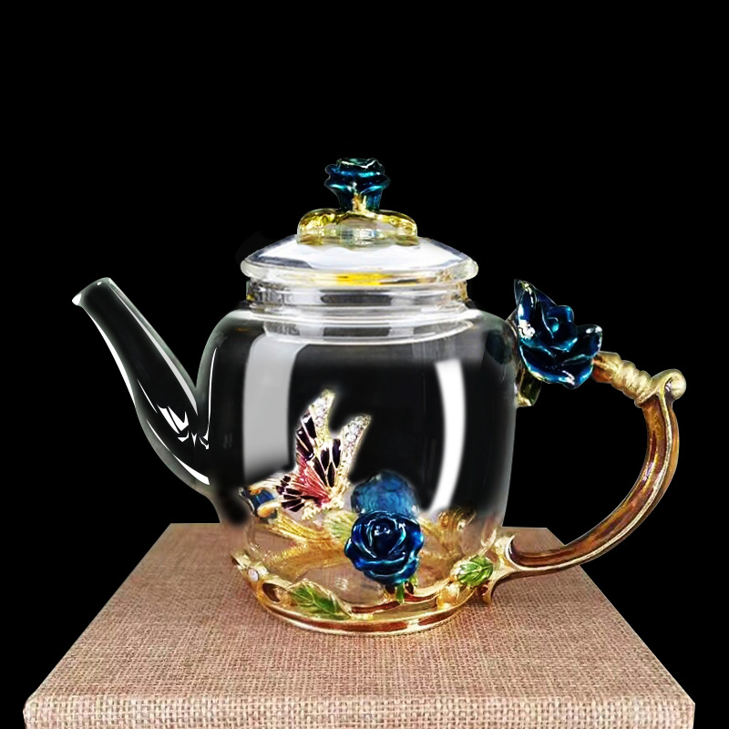Luxury Transparent Enameled Crystal Glass Of Rose heat resistant Teapot kitchen Accessories Wedding Gifts Rose Water Teapot JY
